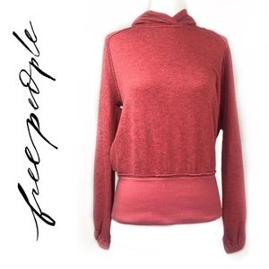 New Free People Red Hoodie/Sweatshirt